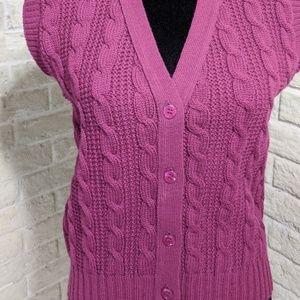 Vtg Pendleton Wool Cable Knit Sweater Vest